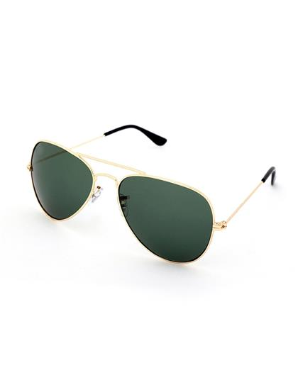 TBZ Green Aviator Golden Freame Sunglasses