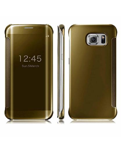 Samsung Galaxy S8 Clear View Flip Cover Case by TBZ -Golden