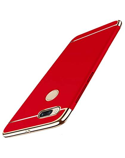 Xiaomi Redmi A1 Ultra-thin 3 in 1 Anti-Scratch Anti-fingerprint Shockproof Resist Cracking Electroplate Metal Texture Armor PC Hard Back Case Cover By TBZ- Red