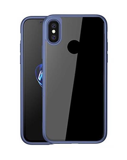TBZ Transparent Hard Back with Soft Bumper Case Cover for Xiaomi Redmi Note 5 Pro  - Blue