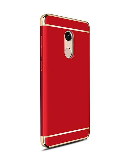 TBZ Cover for Xiaomi Redmi Note 5 Ultra-thin 3 in 1 Anti-Scratch Anti-fingerprint Shockproof Resist Cracking Electroplate Metal Texture Armor PC Hard Back Case Cover - Red