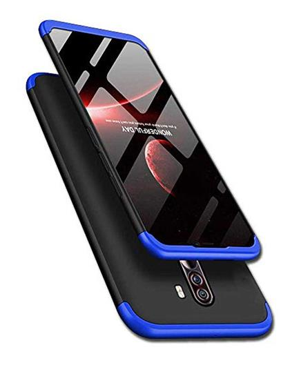 TBZ Cover for Poco F1 Ultra-thin 3-In-1 Slim Fit Complete 3D 360 Degree Protection Hybrid Hard Bumper Back Case Cover - Blue