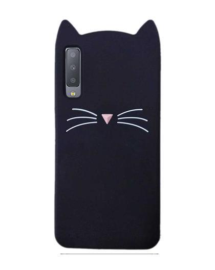Samsung Galaxy A7 2018 - Cat Cartoon Soft Rubber Silicone Back Case Cover for Samsung Galaxy A7 (2018) -Black