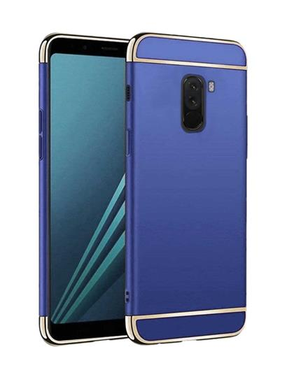 Back Cover for Poco F1 Ultra-thin 3 in 1 Anti-fingerprint Shockproof Resist Cracking Electroplate Metal Texture Armor PC Hard Back Case Cover for Poco F1 -Blue