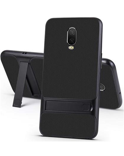 RRTBZ Dual Layer Armor PC Frame TPU Shock Proof Silicone Kickstand Back Cover Case for OnePlus 6T -Black