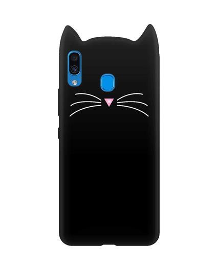 Case for Samsung Galaxy M30 Cat Cartoon Soft Rubber Silicone Back Case Cover for Samsung Galaxy M30 -Black
