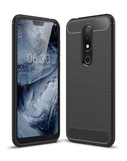 Case for Nokia 6.1 Plus Shock Proof Carbon Fibre Texture Slim TPU Flexible Back Case Cover for Nokia 6.1 Plus / Nokia 6.1+