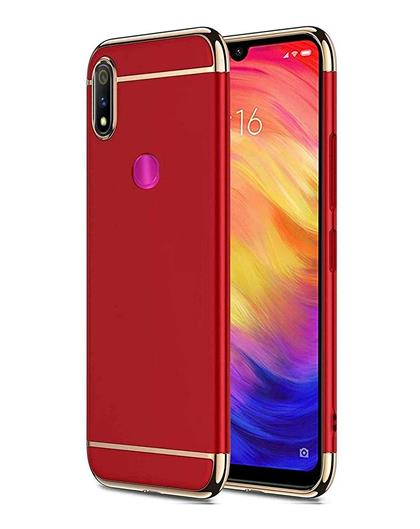 Case for Realme 3 Pro Ultra-thin 3 in 1 Anti-Scratch Anti-fingerprint Shockproof Electroplate Metal Texture Armor PC Hard Back Case Cover for Realme 3 Pro -Red