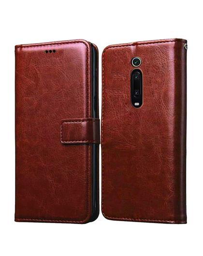 Cover for Xiaomi Redmi K20 Pro- Foldable Stand Diary Wallet Flip Cover Case for Xiaomi Redmi K20 Pro / Redmi K20 -Brown