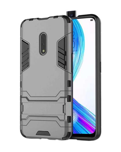 RRTBZ Heavy Duty Shockproof Dual Protection Layer Kickstand Back Cover Case  for Realme X -Grey