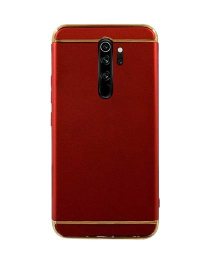 Case for Xiaomi Redmi Note 8 Pro Ultra-thin 3 in 1 Cracking Electroplate Metal Texture Hard Back Case Cover for Xiaomi Redmi Note 8 Pro -Red