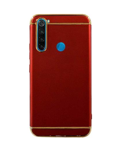Case for Xiaomi Redmi Note 8 Ultra-thin 3 in 1 Cracking Electroplate Metal Texture Hard Back Case Cover for Xiaomi Redmi Note 8 -Red