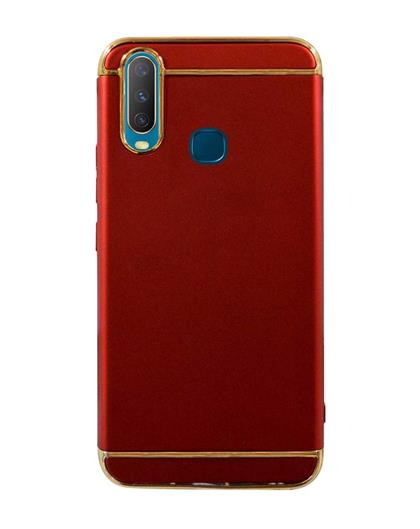 Case for Vivo Y17 | Vivo Y15 Y12 Ultra-thin 3in1 Electroplate Metal Texture Hard Back Case Cover for Vivo Y17 / Vivo Y15 / Vivo Y12 -Red