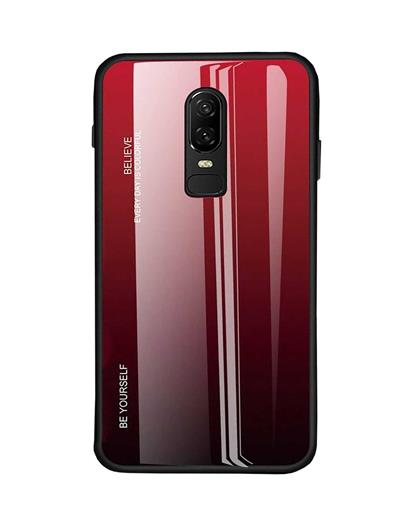 Luxurious Colourful Toughened Glass Back Case with Shockproof TPU Soft Bumper Back Cover for Vivo V17 Pro -Red