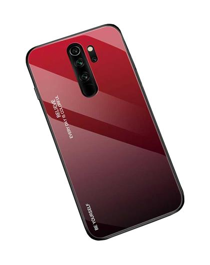 Luxurious Colourful Toughened Glass Back Case with Shockproof TPU Soft Bumper Back Cover for Xiaomi Redmi Note 8 Pro -Red