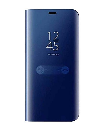 Luxury Semi Clear View with Standing Mirror Flip Case for Vivo V17 Pro -Blue