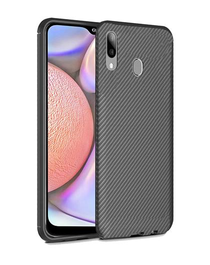 Cover for Samsung Galaxy A10s Fibre Rugged Shockproof TPU Slim Back Cover Case for Samsung Galaxy A10s -Black