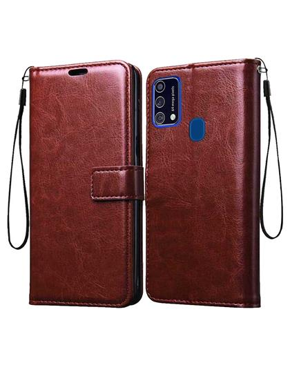 Foldable Wallet Flip Cover Case for Samsung Galaxy M31 / Samsung Galaxy F41 -Brown