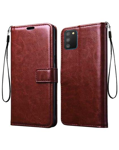 Wallet Flip Cover Case for Samsung Galaxy M02s / A02s -Brown