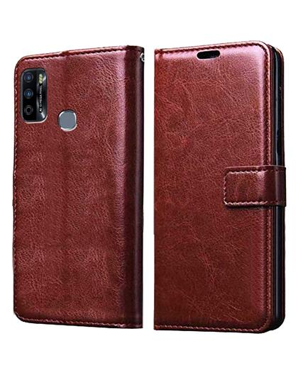 Wallet Flip Cover Case for Infinix Smart 4 Plus -Brown
