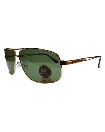 TBZ Green Aviator UV Protection Golden Freame Sunglasses
