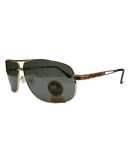 TBZ Black Aviator UV Protection Golden Freame Sunglasses