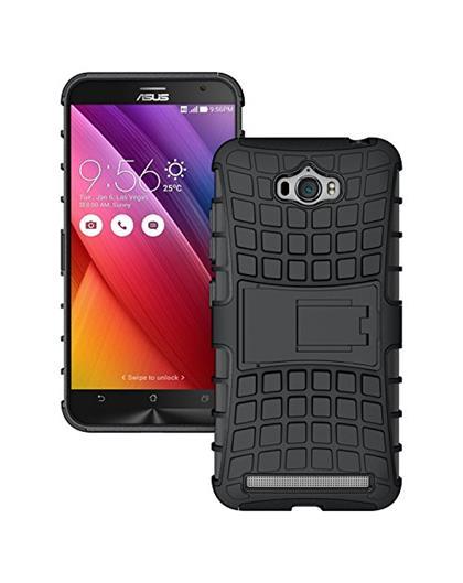 TBZ Hard Grip Rubberized Kickstand Back Cover Case for Asus Zenfone Max ZC550KL -Black