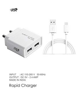 Wall Charger, Travel Charger, Mobile Charger, Dual Port USB Wall Charger Adapter With Micro USB Cable By TBZ