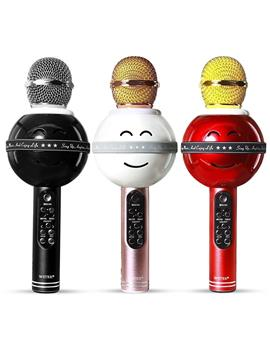 Wireless Bluetooth WS-878 Microphone MIC For Singing Recording Condenser Handheld Microphone Portable Speaker with Party Lights- Black By TBZ