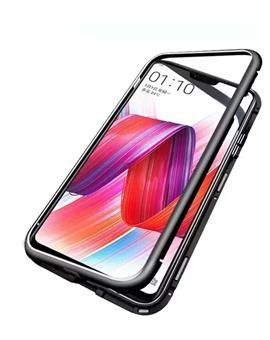 TBZ Cover for Oneplus 6T Ultra Slim Magnetic Back Case Back Cover with Metal Frame & Glass Back for Oneplus 6T - Black