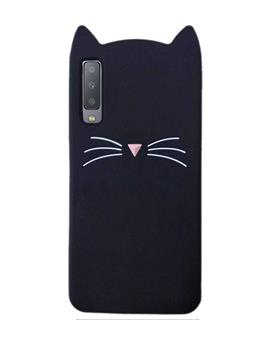 Samsung Galaxy A7 2018 - Cat Cartoon Soft Rubber Silicone Back Case Cover for Samsung Galaxy A7 (2018) -Black