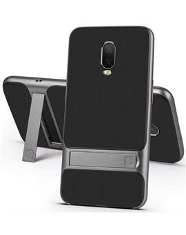 RRTBZ Dual Layer Armor PC Frame TPU Shock Proof Silicone Kickstand Back Cover Case for OnePlus 6T -Grey