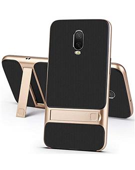 RRTBZ Dual Layer Armor PC Frame TPU Shock Proof Silicone Kickstand Back Cover Case for OnePlus 6T -Golden