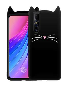 Case for Vivo V15 Pro Cat Cartoon Soft Rubber Silicone Back Case Cover for Vivo V15 Pro -Black