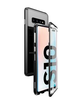 Case for Samsung Galaxy S10 Ultra Slim Magnetic Back Case Back Cover with Metal Frame & Glass Back for Samsung Galaxy S10 -Black