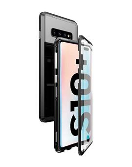 Case for Samsung Galaxy S10+ / S10 Plus Ultra Slim Magnetic Back Case Back Cover with Metal Frame & Glass Back for Samsung Galaxy S10+ / S10 Plus -Black