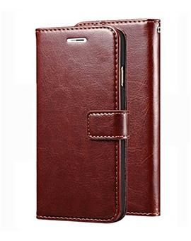 Leather Diary Wallet Book Flip Cover Case for Samsung Galaxy A7 (2018) -Brown