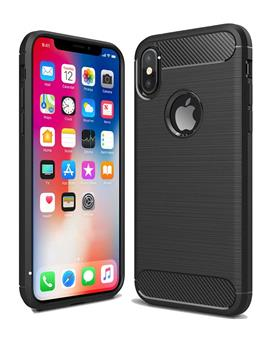 Case for Apple iPhone X Shock Proof Carbon Fibre Texture Slim TPU Flexible Back Case Cover for Apple iPhone X / XS