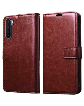 Foldable Wallet Flip Cover Case for OnePlus Nord -Brown