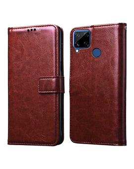 Foldable Wallet Flip Cover Case for Realme Narzo 20 / Realme C15 / Realme C12 -Brown