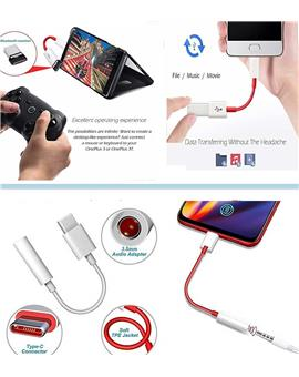 OTG Adapter Type C USB + Type-C to 3.5mm Jack Audio for Oneplus/Xiaomi/Samsung Galaxy | OTG Splitter USB-C 3.1 OnePlus 8 7 pro7t/6t/6/3T/5/5T USB C Converter Data Adapter Support Pen Drive