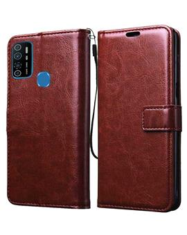 RRTBZ Wallet Flip Cover Case for Tecno Spark 5 pro / Infinix Hot 9 Pro -Brown