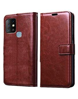 Wallet Flip Cover Case for Infinix Hot 10 -Brown