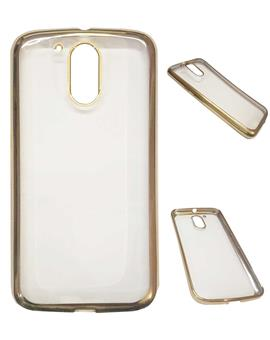 TBZ Transparent Electroplated Edges TPU Back Case Cover for Motorola Moto G4 Plus -Golden