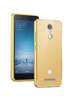 TBZ Metal Bumper Acrylic Mirror Back Cover Case for Xiaomi Redmi Note 3 -Golden