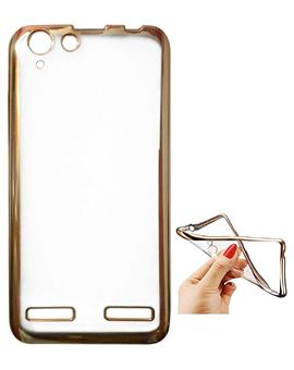 TBZ Transparent Electroplated Edges TPU Back Case Cover for Lenovo Vibe K5 Plus -Golden