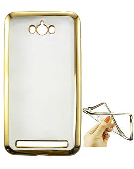 TBZ Transparent Electroplated Edges TPU Back Case Cover for Asus Zenfone Max ZC550KL -Golden