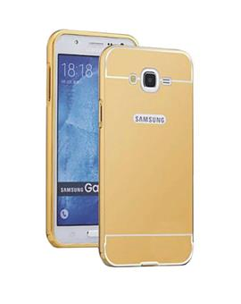 TBZ Metal Bumper Acrylic Mirror Back Cover Case for Samsung Galaxy J7 Prime -Golden
