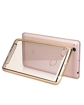 TBZ Transparent Electroplated Edges TPU Back Case Cover for Samsung Galaxy J7 Prime -Gold